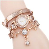 Ladies Gold Multilayer Cubic zirconia Leather Bracelet Wrist Watch
